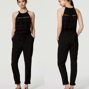 LOFT Textured Black Jumpsuit